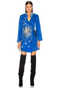 Rixo London RIXO IRIS DRESS IN BLUE.