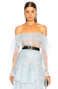 RODARTE Off-The-Shoulder Lace And Tulle Top in Blue Print