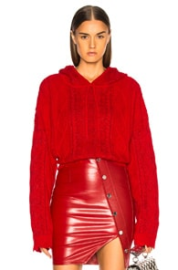RTA Marvin Cable-Knit Hooded Pullover Sweater in Red