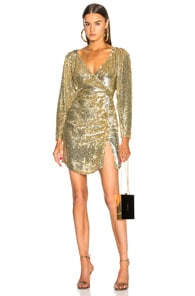 RETROFÉTE Roxy Ruched Sequined Dress - Gold Size M