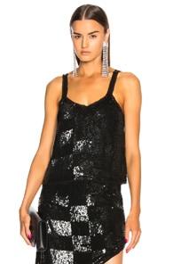 RETROFÉTE Sandra Checked Sequined Top - Black Size L