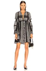 SEA Patterned Tunic Dress in Black