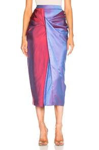 SIES MARJAN Libbie Draped Two-Tone Iridescent Dégradé Satin-Twill Midi Skirt in Blue