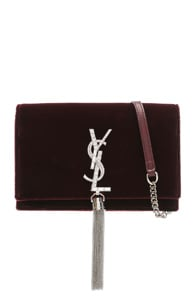 Saint Laurent Crystal Logo Velvet Kate Tassel Chain Wallet In Red