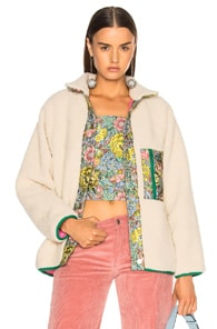 Sandy Liang SANDY LIANG BAYSIDE FAUX SHERPA JACKET IN NEUTRALS,FLORAL