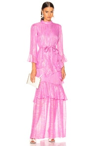 Saloni SALONI MARISSA LONG DRESS IN PINK,STRIPES,METALLIC.