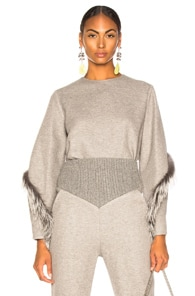 Sally Lapointe SALLY LAPOINTE COCOON TOP WITH FOX FUR IN GREY.