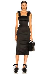 Romy Feather-Trimmed Midi Dress, Black