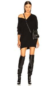 T BY ALEXANDER WANG Alexanderwang.T Black Distressed V-Neck Sweater Dress
