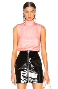 005d498ea3507 Tibi Sequin Turtleneck Shell Top In Pink