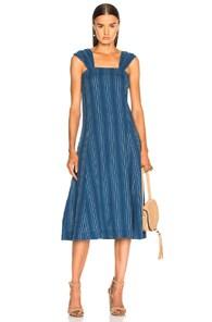 THE GREAT Sundown Sleeveless Textured-Stripe Yea-Length Denim Dress in Blue,Stripes