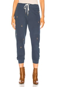 The Great THE GREAT CROPPED SWEATPANT IN BLUE,STARS