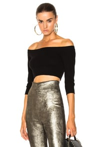 Theperfext THEPERFEXT ANGEL OFF THE SHOULDER TOP IN BLACK
