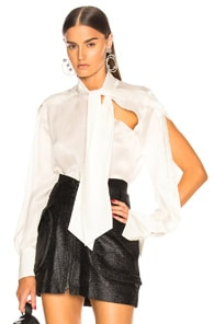 TRE Talulah Pussy-Bow Silk-Jacquard Blouse in White
