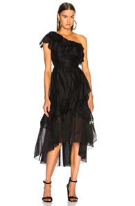 Clemente One-Shoulder Ruffled Cotton And Silk-Blend Organza Midi Dress in Black