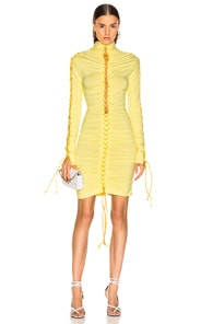 Ben Taverniti Unravel Project UNRAVEL STRETCH V LACE UP DRESS IN YELLOW