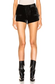 Ben Taverniti Unravel Project UNRAVEL VELVET LACE UP SHORTS IN BLACK