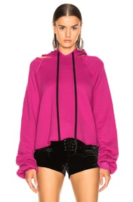 Ben Taverniti Unravel Project UNRAVEL COT CASHMERE CUT HOODIE IN FUCHSIA
