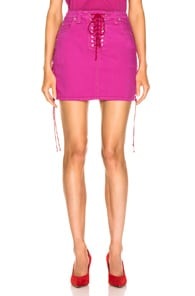 Ben Taverniti Unravel Project UNRAVEL OVERD SIDE LACE UP SKIRT IN PINK