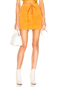 Ben Taverniti Unravel Project UNRAVEL SUEDE SIDE LACE UP SKIRT IN ORANGE