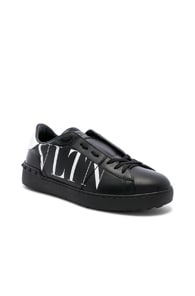 Valentino Logo Leather Sneakers W/ Studs In Black