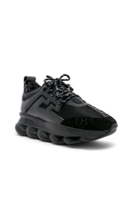 Versace Chain Reaction Leather, Nylon And Suede Sneakers In Black