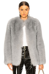 ZEYNEP ARCAY Zeynep Arcay Short Fox Fur Jacket In Gray