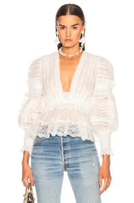 Zimmermann Silks ZIMMERMANN SUNNY SMOCKED PEPLUM TOP IN WHITE