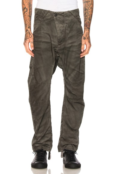 11 by Boris Bidjan Saberi Pants in Green Dirty