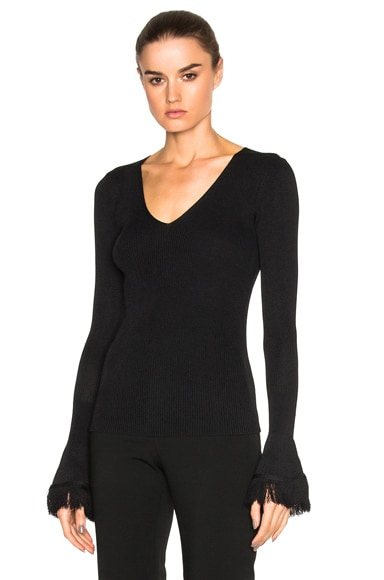 DEREK LAM 10 CROSBY Bell Sleeve Sweater in Black