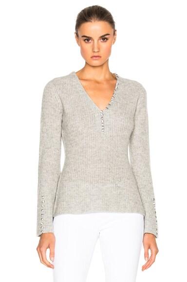 DEREK LAM 10 CROSBY V Neck Sweater in Grey Melange