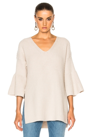 DEREK LAM 10 CROSBY V Neck Bell Sleeve Sweater in Oatmeal