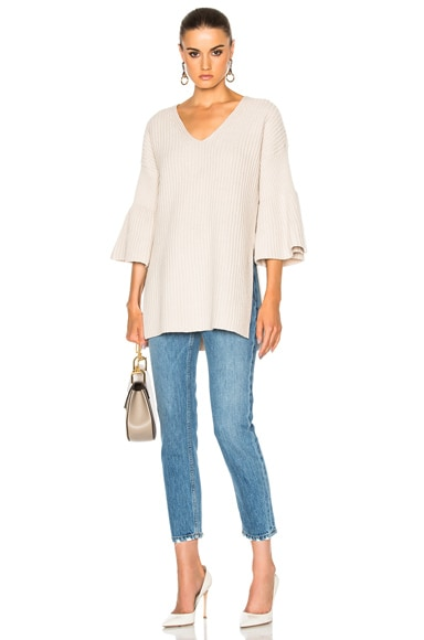 V Neck Bell Sleeve Sweater