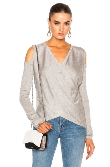 DEREK LAM 10 CROSBY Cross Front Sweater in Gray