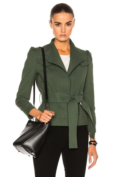 DEREK LAM 10 CROSBY Belted Slim Jacket in Army Green