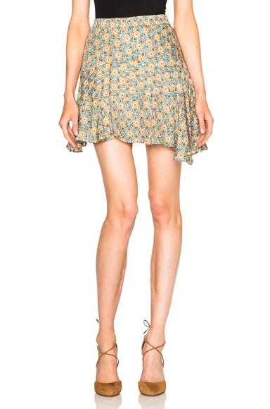 DEREK LAM 10 CROSBY Ruffle Skirt in Toffee Multi