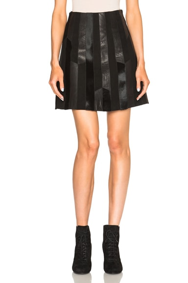 DEREK LAM 10 CROSBY Patchwork Leather Skirt in Black