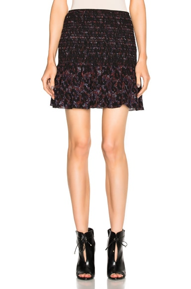 DEREK LAM 10 CROSBY Smocked Mini Skirt in Ink Multi