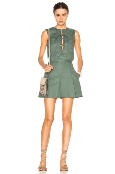 DEREK LAM 10 CROSBY Sleeveless Lace Up Romper in Army