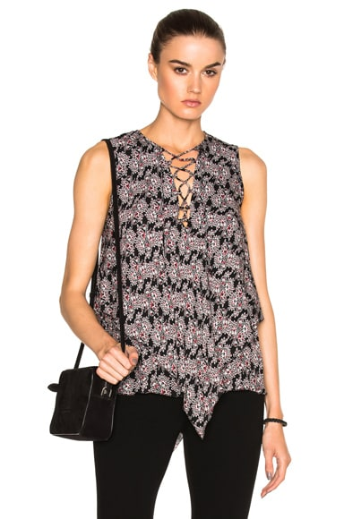 DEREK LAM 10 CROSBY Lace Up Asymmetrical Top in Black Multi