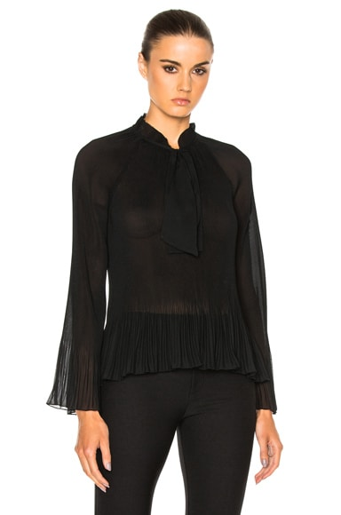 DEREK LAM 10 CROSBY Pleated Bell Sleeve Top in Black