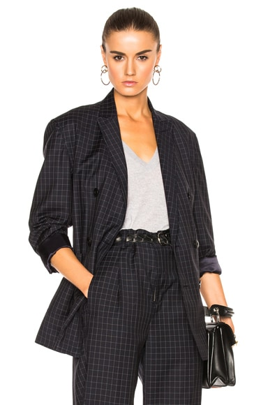 3.1 phillip lim Lightweight Wool Suiting Blazer in Grid Navy