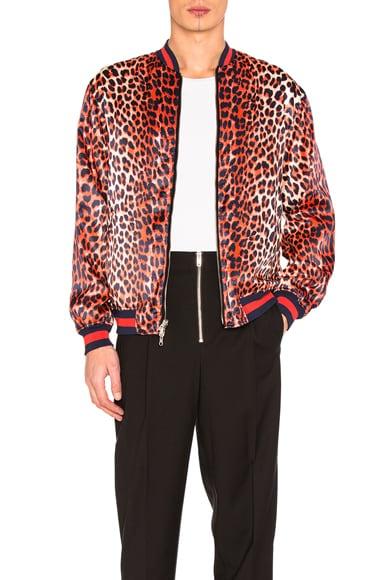 3.1 phillip lim Reversible Leopard Souvenir Jacket in Navy & Orange