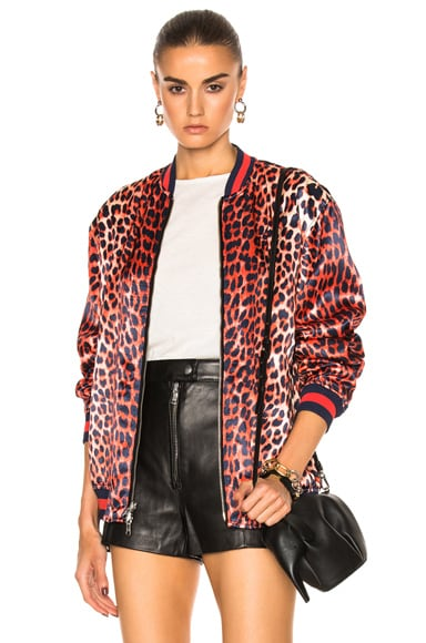 3.1 phillip lim Reversible Leopard Souvenir Jacket in Navy & Orange