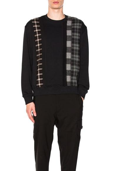 Crewneck Sweatshirt with Plaid Stripe Panels