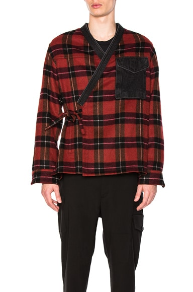 Plaid Flannel Kimono Shirt Jacket