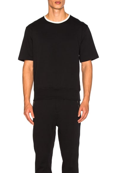 3.1 phillip lim Wide Rib French Terry Short Sleeve Shirt in Soft Black