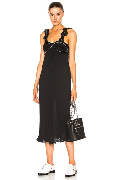 3.1 phillip lim Sleeveless Pleated Ruffle Dress in Black