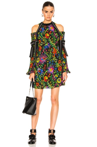 3.1 phillip lim Long Sleeve Floral Cold Shoulder Dress in Black Multi