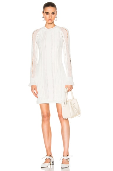 3.1 phillip lim Long Sleeve Pointelle Lace Dress in Antique White